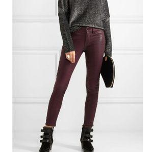 Frame Le Skinny de Jeanne Leather Burgundy Pants